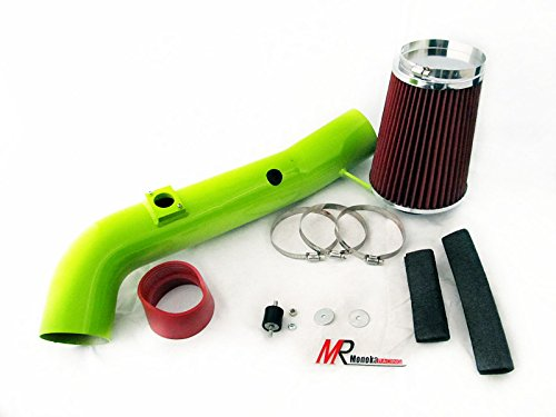 2004 Chevrolet Silverado 2500HD/3500 All Model with 6.6L V8 Diesel Turbo LB7 Engine Green Piping Heat Shield Cold Air Intake System Kit with red Filter