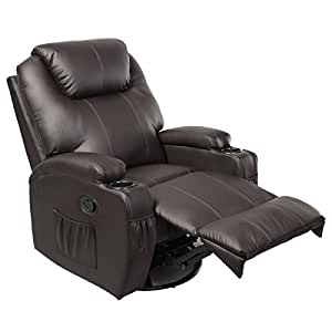 TANGKULA Pu Leather Ergonomic Heated Massage Recliner Sofa Chair Deluxe Lounge Executive w/Control (Brown)
