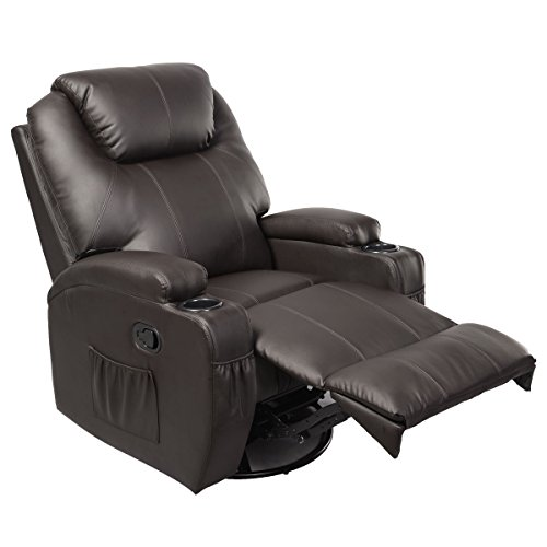 Tangkula Pu Leather Ergonomic Heated Massage Recliner Sofa Chair Deluxe Lounge Executive w/ Control (Brown)
