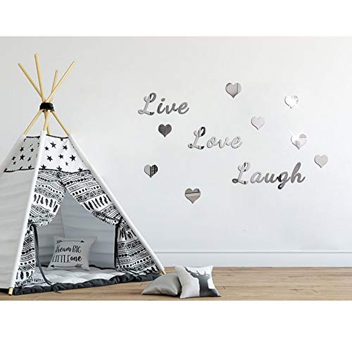 - BHSTAR Live Love Laugh Letter Motto Wall Sticker with Heart Self Adhesive Acrylic Home Decoration Decals Silver Mirror Reflection