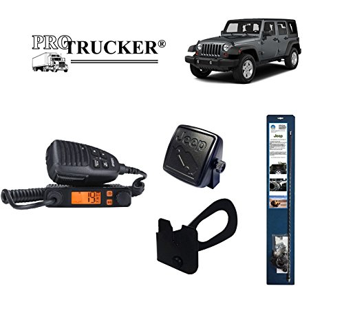 Pro Trucker 2007-Present Jeep JK CB Radio Complete Kit with Handheld CB Radio, 3' Mopar Antenna, Mount, Coax, Speaker, and Grab Bar Mount