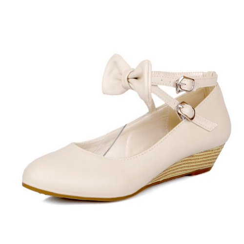 nbsp;tacón PU Beige AllhqFashion Suave Tacón Zapatos Mujer nbsp;de Material Hebilla Redonda Bajo Puntera qqx7PBC
