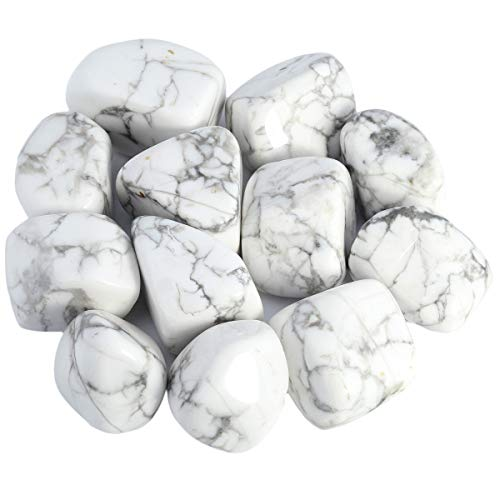 Sharvgun Howlite Turquoise White Polished Rolled Stone for Lithotherapy Stones and Natural Crystals Mineral Collection Decoration, 460g / lot (Necklace Polished Stones Turquoise)