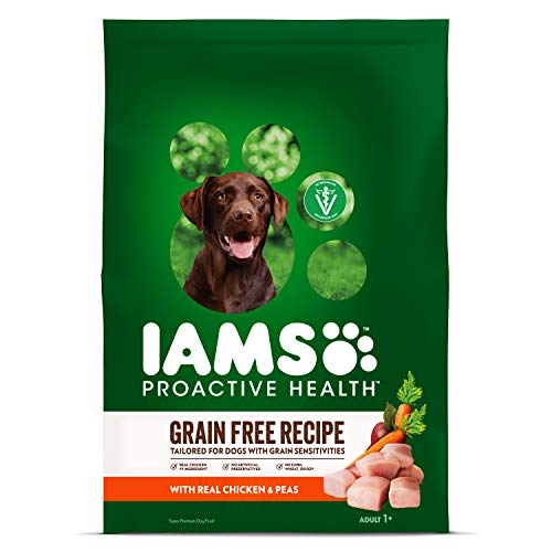 IAMS PROACTIVE HEALTH Adult Dry Dog Food Grain Free Recipe with Real Chicken and Peas, 19 lb. Bag