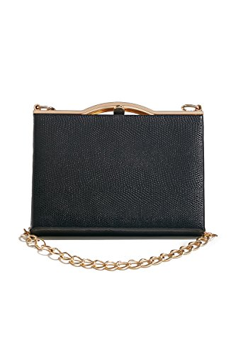Lined Vintage Clutch (Women Faux Snakeskin Clutch Purse Hard Case Handbag With Two Detachable Chains (black, gold))