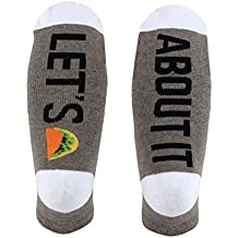 Women's 'Let's Taco About It' Khaki Heat Crew Socks, Shoe Size 5-11