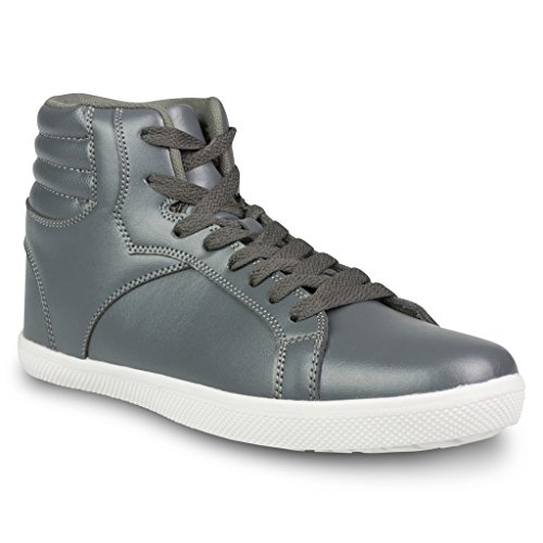Influence Men's Rick Faux Leather Hi-Top Lace Up Fashion Sneakers, Grey, Size 10