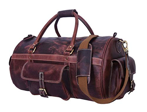 Full Grain Leather Travel Duffle Barrel Bag With Adjustable Straps | Large Compartment & Zippered Side Pockets Weekend Overnight Bag (Tawny, 20 Inch) ()