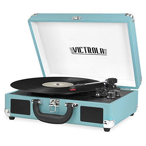Victrola Vintage 3-Speed Bluetooth Suitcase Turntable with Speakers, Aqua Turquoise