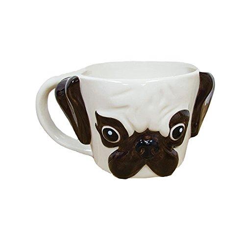 (Paladone Pug Shaped Ceramic Coffee Mug - The Perfect Pug Mug)