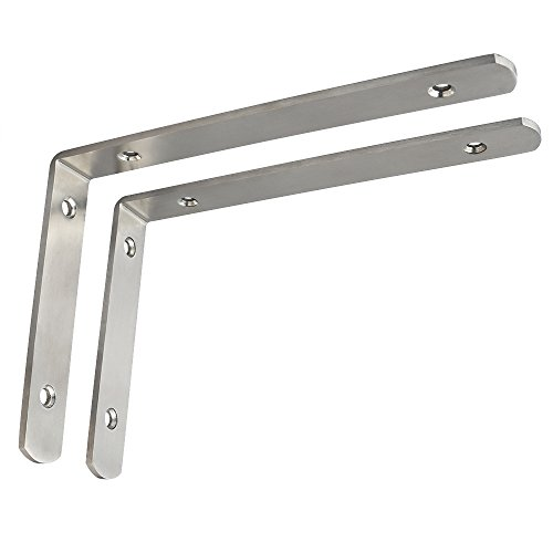 nless Steel Brackets Floating Shelves Heavy Duty Shelf Bracket Corner Brace Support Wall Hanging 200mmX138mm,Brushed Nickel 2 Pcs (Mount Shelf Bracket)