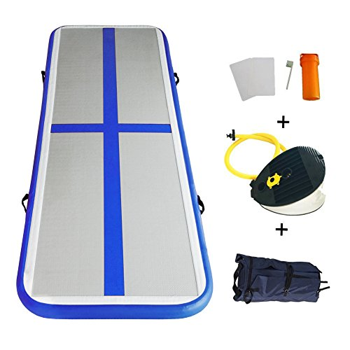 Inflatable Tumbling Gymnastic Air floor Mat Track Cheerleading for Home Use/Cheerleading/Beach/Park and Water (DARK BLUE)