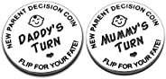 New Baby Gift for Parent Mom Daddy Funny Decision Coin for Women Men Pregnancy Mothers for First Time Moms Dad
