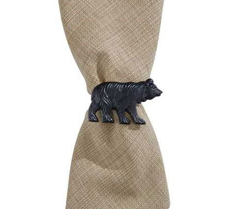 Park Designs Bear Napkin Ring Set of 4, Black Finish