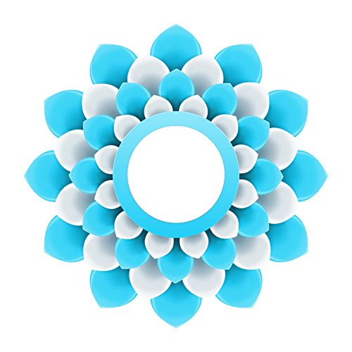 Pretty 3-D Optical Illusion Mandala Flower - Aqua and White Vinyl Decal Sticker (8