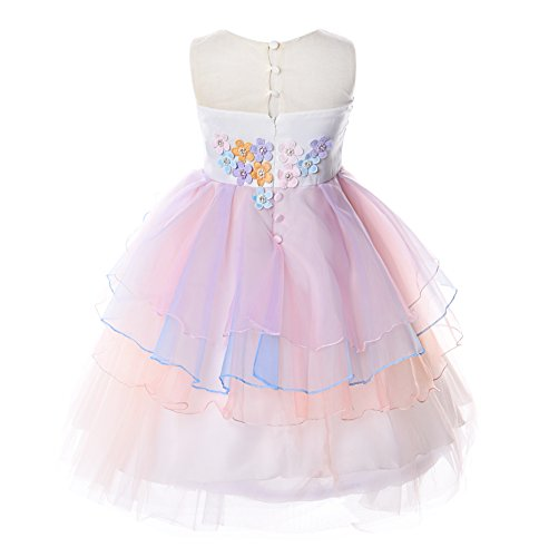 JerrisApparel Flower Girls Unicorn Costume Pageant Princess Party Dress (8-9 Years, Orange) by JerrisApparel (Image #1)