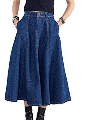 Enlishop Women's Casual Vintage A Line Midi Blue Denim Pencil Jean Skirts Dress
