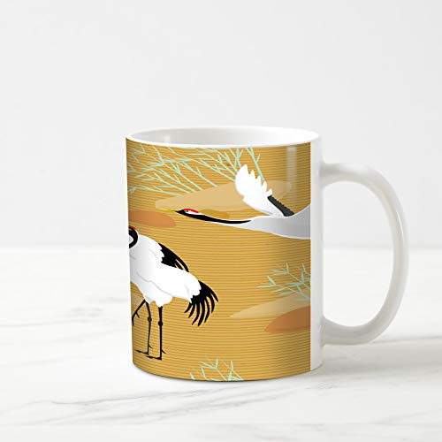 Ahawoso Coffee Tea Mug 11 Ounces Bird Beige Pattern Cranes Yellow Oriental Longevity Asian Bamboo Beak 11Oz Ceramic Tea Cups Gift Great Boss Coworker Friend Present ()