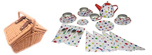 Oojami Children's Tin Tea Set with Polka Dots Includes a Basket (Childrens Set Tea Basket)