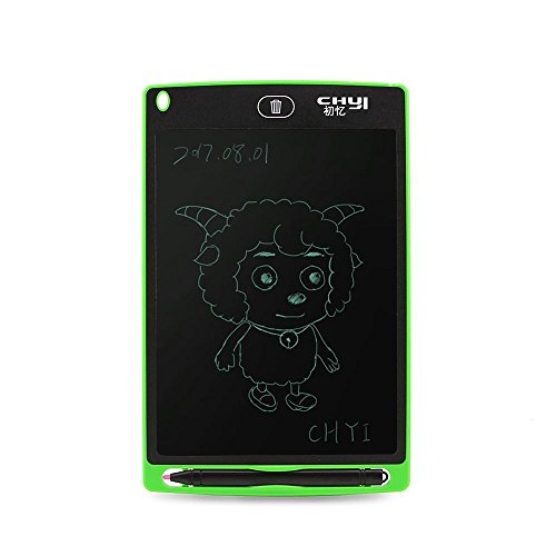 CHUYI 8.5 Inch LCD Writing Tablet Office Memo Board Magnetic Fridge Message Whiteboard Electronic Writing Doodle Pad Drawing Board Gifts (Green+Case)