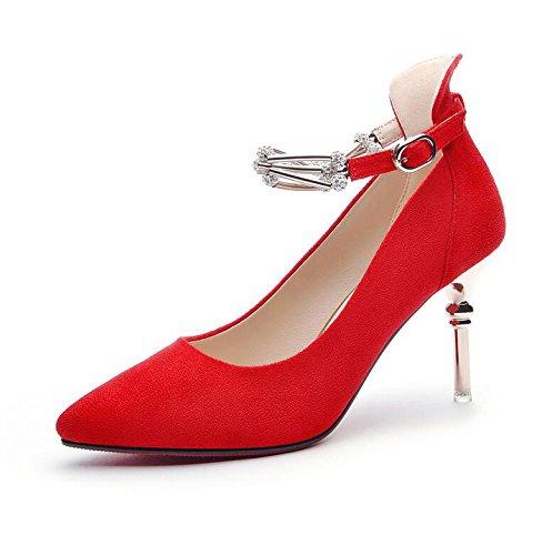 Printemps Lumière Femmes Amende Travail La Hauts High Avec Au Pointe Mis Chaussures 37 Chaussures Talons Au Nouvelle KHSKX Heeled La Rouge Seule Cuir 7Cm wFfXxvqq8