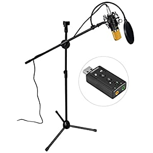 Aokeo AK-70 Professional Studio Live Stream Broadcasting Recording Condenser Microphone With Folding Adjustable Tripod Boom Floor Stand, Shock Mount, Pop Filter, USB Sound Card and Mounting Clamp