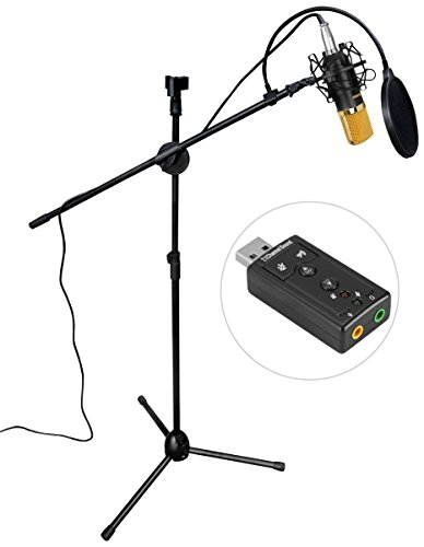 Adjustable Stand Studio Boom Tripod (Aokeo AK-70 Professional Studio Live Stream Broadcasting Recording Condenser Microphone With Folding Adjustable Tripod Boom Floor Stand, Shock Mount, Pop Filter, USB Sound Card and Mounting Clamp)