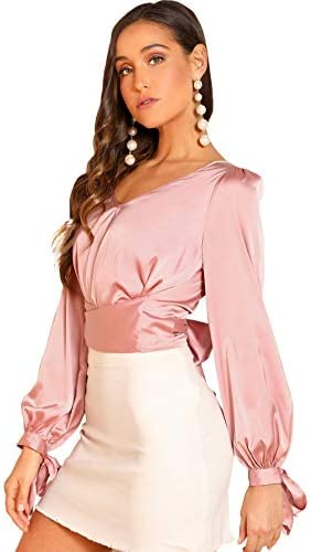 SheIn Women's Elegant V Neck Self Tie Knot Long Sleeve Satin Blouse Shirt Top