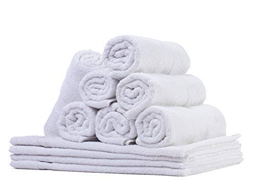 Honest Linen - Extra Large White Hand Towel Set | 100% Cotton | Pack of 12 | 16''x27'' Inches | Machine Washable | Ultra Soft & Absorbent | Perfect for Bar Mops, Kitchen, Cleaning Rag | Made in India