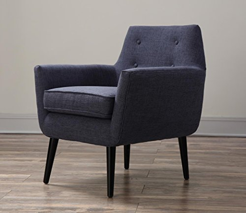 Tov Furniture Clyde Collection Mid Century Upholstered Tufted Living Room Accent Chair Navy