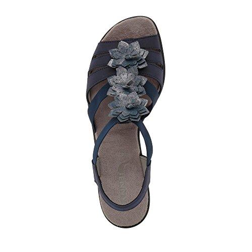 Jenny 22-56401-60 Damen Sandalette Aus Lederimitat Gepolsterte Textilinnensohle Dunkelblau