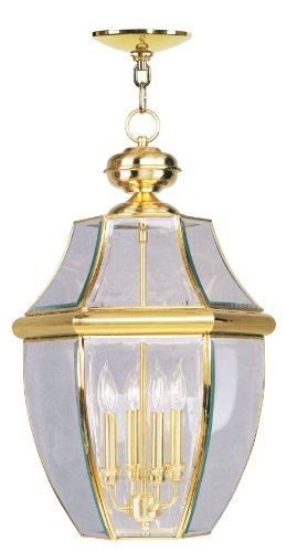 Livex Lighting 2357-02 Monterey 4-Light Outdoor Hanging Lantern, Polished Brass