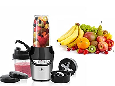 EverKing 1000 Watt Electric Power Blender High-Speed Food Extractor Juicer Smoothies Maker Fruit Mixer Grinder Fruit Vegetable Processor, Silver