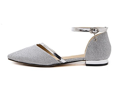 1TO9 Buckle Womens Silver Flats Shoes Urethane 0r0B5xq