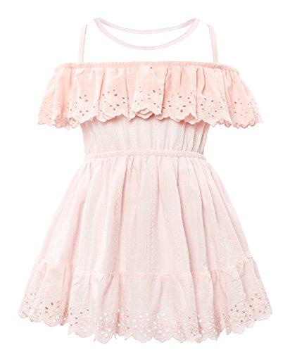 CIELARKO Girls Dress Summer Mesh Sleeveless Children Dresses (6-7 Years, Pink)