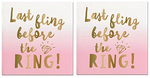 2 Pk - Last Fling Before The Ring Napkins - Bachelorette Party Napkins (2pk - Last Fling (Bachelorette Party Napkins)