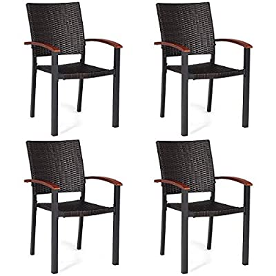 Tangkula Dining Chairs Outdoor Outdoor Indoor Garden Beach Lawn Patio Armchair Set with Eucalyptus Wood-Made Armrests Ergonomic Rattan Wicker Chairs Set with Aluminum Frame for Balcony Chairs (4 PCS) - Stackable for Storage to Save Space - The armchairs are easily stackable for storage and saving space when no using. With the ability to stack conveniently and lightweight construction, these chairs are as easy to set up as they are to pack up and carry or transform. Sturdy & Weatherproof Construction- Made of heavy-duty aluminum frame and high-quality PE rattan which have strong bearing capacity and waterproofing property, these chairs can withstand your body stability without concave no matter if it rains, snows, or blows. Breathable Rattan Seat And Back - Environment-friendly PE rattan provide you with the soft touch feeling and excellent stretch performance when lying on chairs. Even sitting on the chairs in super hot weather, you can feel the cool flexibility without any warm heat. - patio-furniture, patio-chairs, patio - 41w4aZcmrFL. SS400  -