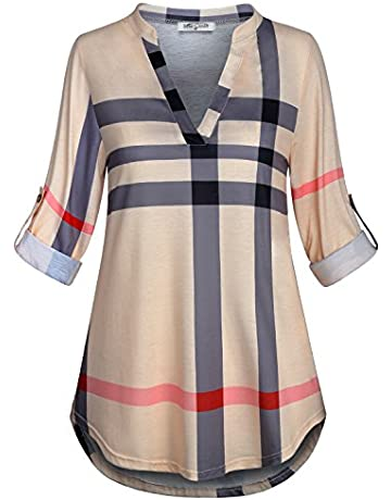 08afdeae10352 SeSe Code Womens 3 4 Roll Sleeve Shirt Notch Neck Loose Tops Plaid Tunic  Blouse