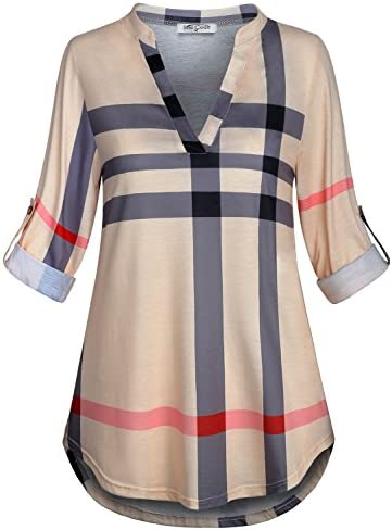 SeSe Code Womens 3/4 Roll Sleeve Shirt Notch Neck Loose Tops Plaid Tunic Blouse 1