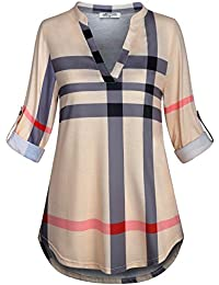 Womens 3/4 Roll Sleeve Shirt Notch Neck Loose Tops Plaid Tunic Blouse(FBA)