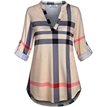 SeSe Code Womens 3/4 Roll Sleeve Shirt Notch Neck Loose Tops Plaid Tunic Blouse(FBA)