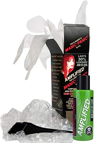 (Manic Panic Green Electric Lizard Amplified Hair Coloring Kit, Vegan Semi-Permanent Green Hair Dye Cream, 3X Pigments & Lasts 30% Longer Than Classic Voltage (6-8 Weeks), Ammonia-free, Ready to Use)