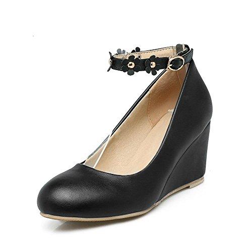 Pumps Solid Round Kitten Shoes 32 PU Heels Odomolor Buckle Women's Black Toe I4q8HWYw