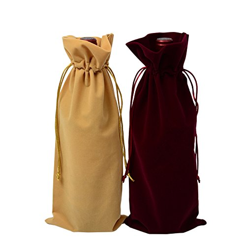 MoreShow 6 Pcs Flannel Grape Wine Bags with Drawstring,3 Red and 3 Yellow Wine Bottle Gift Bags(15
