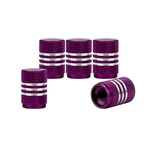 Senzeal 5x Aluminum Car Tire Valve Stem Caps Round Style Air Covers Purple