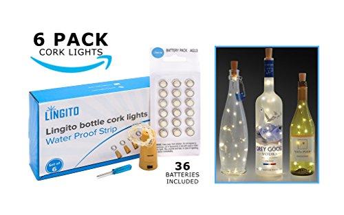 6 White Wine Bottle Cork Lights With 36 Batteries included , Copper Wire Lights, String Led Lights for Bottles DIY, Mood Lights