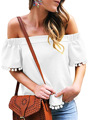 Dokotoo Womens Fashion Tops Plus Size Casual Casual Off Shoulder Slash Neck Short Sleeve Pop Pop Trim Tassel Shirts Tops and Blouses White XX-Large