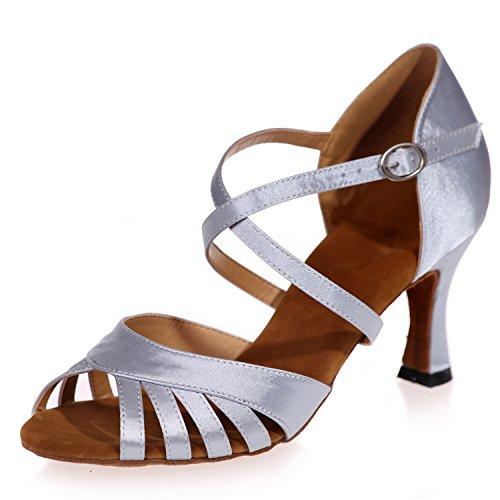 Elobaby Zapatos De Baile para Mujer Satin Performance Plataforma De Punta Latina Peep Toe / 7.5cm TalóN/Vestido Silver