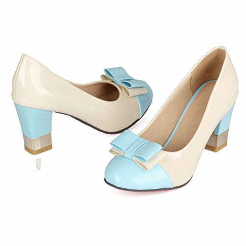 Carol Shoes Women's Sweet Fashion High Heel Assorted Colors Bows Court Shoes Blue 5Q6VF