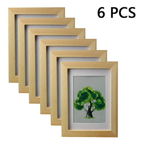 K.T.Z 5 x 7 Natural Solid Wood Photo Frame 6-Piece, Wall-Mounted or Desktop Dual-use, Including Installation Materials, Elegant and Beautiful for Home or Small Gifts (Natural 6 Pcs, 5 x 7)